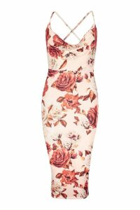 Womens Large Floral Cowl Neck Midi Dress - pink - 12, Pink