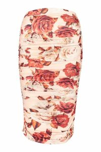 Womens Ruched Floral Midi Skirt - pink - 8, Pink