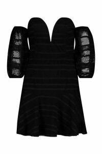 Womens Off The Shoulder Sweetheart Skater Dress - black - S, Black