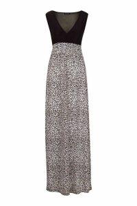 Womens Leopard Print Maxi Dress - black - 16, Black