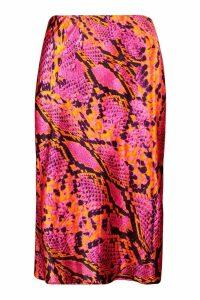 Womens Snake Print Satin Bias Cut Midi Skirt - Pink - 12, Pink