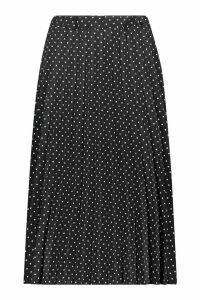 Womens Polka Dot Pleated Midi Skirt - black - 12, Black