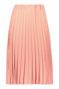 Womens Polka Dot Pleated Midi Skirt - orange - 10, Orange