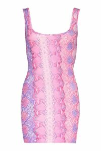 Womens Snake Print Bodycon Mini Dress - Pink - 14, Pink