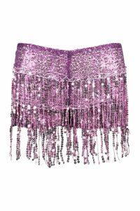 Womens Tassel Sequin Mini Hotpant - purple - M/L, Purple