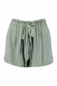 Womens Tie Waist Soft Cotton Look Shorts - green - 14, Green