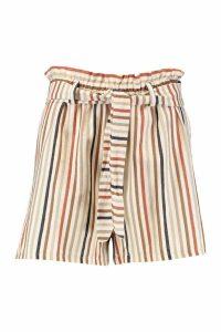 Womens Linen Stripe Gathered Waist Shorts - orange - 8, Orange