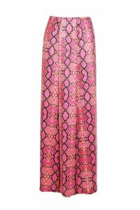 Womens Double Split Snake Print Maxi Skirt - Pink - 10, Pink