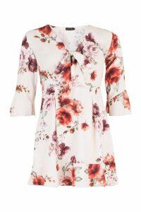 Womens Floral Print Tie Front Skater Dress - beige - 16, Beige