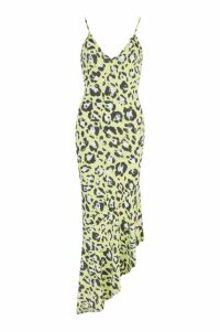 Womens Bright Leopard Asymmetric Hem Maxi Dress - green - 12, Green
