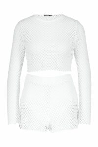 Womens Mesh Long Sleeved Top & Short Co-Ord - white - 14, White