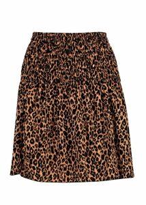 Womens Leopard Print Shirred Mini Skirt - brown - 14, Brown
