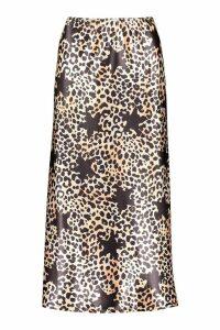 Womens Satin Leopard Star Print Bias Cut Midi Skirt - black - 6, Black