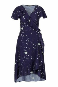 Womens Cosmo Print Ruffle Tea Dress - navy - 8, Navy