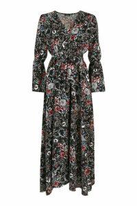 Womens Floral Woven V Neck Flare Sleeve Maxi Dress - black - 8, Black