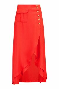 Womens Pocket Detail Button Midi Skirt - red - S, Red