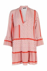 Womens Tribal Print Smock Dress - orange - S, Orange