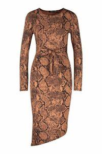 Womens Tie Front Snake Print Midi Dress - brown - 14, Brown