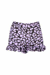 Womens Leopard Print Flippy Shorts - purple - 14, Purple