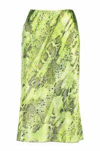 Womens Satin Snake Bias Midi Skirt - green - 14, Green