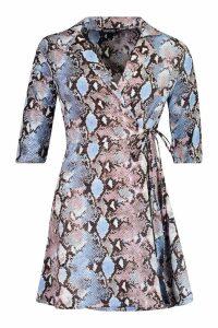 Womens Woven Snake Tie Waist Shirt Skater Dress - blue - 8, Blue