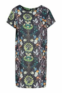 Womens Woven Floral Paisley Shift Dress - navy - 8, Navy