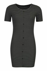 Womens Rib Stripe Button Bodycon Dress - black - 8, Black