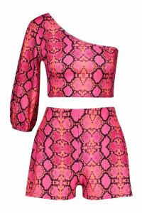 Womens Snake Print One Shoulder Top & Short Co-Ord - Pink - 14, Pink
