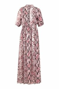 Womens Snake Print Detail Midi Shirt Dress - Pink - 10, Pink