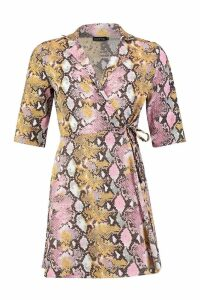 Womens Woven Snake Tie Waist Shirt Skater Dress - Pink - 12, Pink
