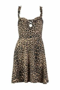 Womens Printed Lace Up Detail Skater Dress - brown - 10, Brown