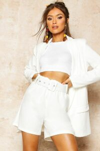 Womens Tailored Paper Bag Belted Short - white - 14, White