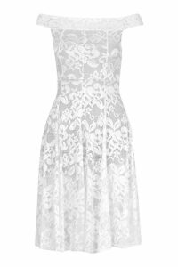 Womens Off The Shoulder Lace Skater Midi Dress - white - 12, White