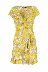 Womens Woven Ditsy Floral Tea Dress - yellow - 16, Yellow