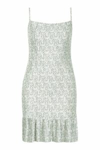 Womens Ditsy Floral Plisse Cowl Neck Shift Dress - green - 14, Green