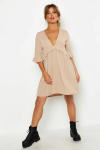 Womens Ribbed Ruffle Smock Dress - beige - 12, Beige
