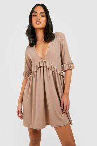 Womens Ribbed Ruffle Smock Dress - beige - 16, Beige