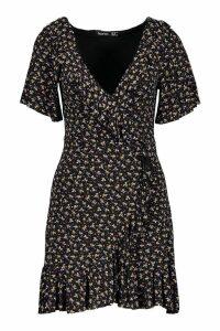 Womens Ditsy Floral Wrap Ruffle Tea Dress - black - 16, Black