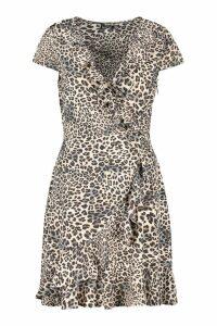 Womens Woven Animal Ruffle Tea Dress - black - 10, Black