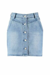 Womens Button Front Seam Denim Mini Skirt - Blue - 12, Blue