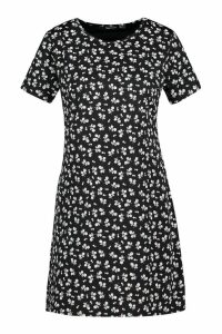 Womens Floral Jersey Crew Neck Shift Dress - black - 16, Black