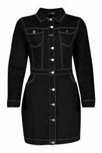Womens Contrast Stitch Denim Bodycon Dress - black - 8, Black