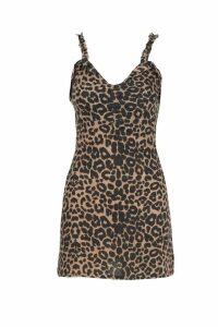 Womens Leopard Rouche Front Frill Mini Dress - brown - 6, Brown