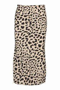 Womens Bias Satin Leopard Print Midaxi Skirt - beige - 8, Beige