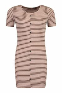 Womens Rib Stripe Button Bodycon Dress - beige - 8, Beige