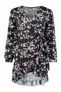 Womens Woven Wrap Ditsy Floral Tea Dress - black - 12, Black