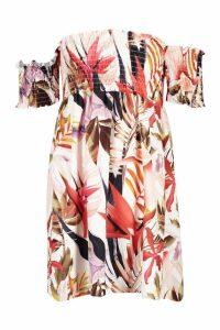 Womens Short Sleeve Off The Shoulder Shirred Print Skater Dress - multi - 10, Multi