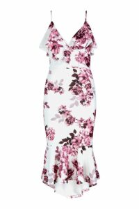 Womens Floral Wrap Ruffle Midi Dress - pink - 12, Pink