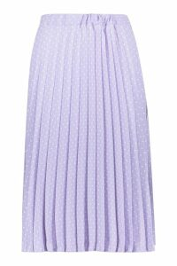 Womens Polka Dot Pleated Midi Skirt - purple - 12, Purple
