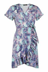 Womens Woven Snake Wrap Ruffle Tea Dress - purple - 12, Purple